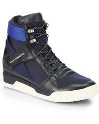 Y-3 Heldlli Leather Neoprene Hightop Sneakers - Lyst