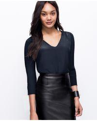 Ann Taylor Faux Leather Trim Silk Tunic - Lyst