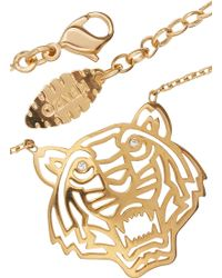 KENZO - Gold Tone Cut-Out Tiger Necklace - Lyst