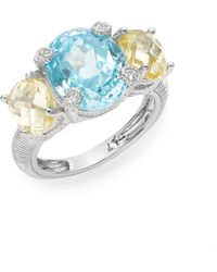 Judith Ripka | White Sapphire & Sterling Silver Tri-stone Ring | Lyst