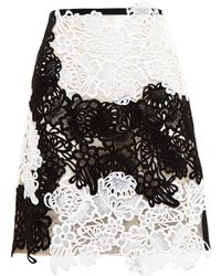 Erdem Monochrome Lace Skirt - Lyst