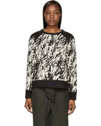 Rag & Bone Black Ecru Jacquard and Leather Sweatshirt - Lyst