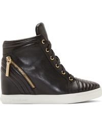 Pierre Balmain Black Leather Zipped and Ribbed Wedge Sneaker - Lyst