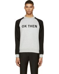 Marc By Marc Jacobs Grey And Black Embroidered Ok Then Sweatshirt - Lyst