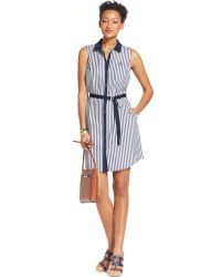 Tommy Hilfiger Belted Elle Striped Shirt-Dress - Lyst