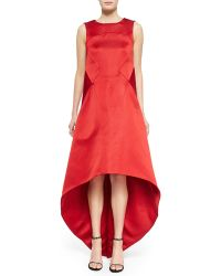 Zac Posen Satin High-Low V-Back Dress - Lyst