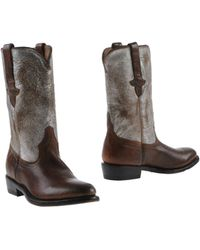 Ash Brown Ankle Boots - Lyst