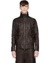 Alexandre Plokhov Black Washed Leather Racer Jacket - Lyst