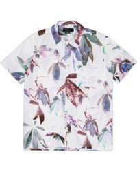 Paul Smith White Digital Floral Print Short-Sleeve Shirt - Lyst