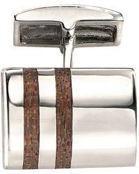 Fred Bennett - Silver Cufflinks With Wood Inlay - Lyst