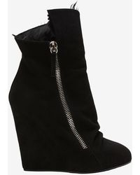 Giuseppe Zanotti Shearling Lined Suede Slouchy Wedge Boot - Lyst