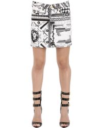 Anthony Vaccarello X Versus Versace Stretch Cotton Denim Skirt - Lyst