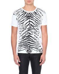 Saint Laurent Tiger Print Tshirt White - Lyst