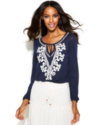 Inc International Concepts Embroidered Keyhole Peasant Top - Lyst