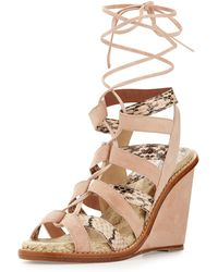 Paul Andrew Ayers Snakeskin Espadrille Wedge - Lyst
