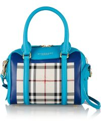 Burberry Prorsum Little Bee Checked Coated-Canvas And Leather Tote - Lyst