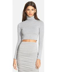 Missguided Turtleneck Crop Top gray - Lyst