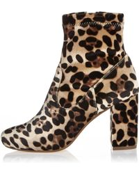 River Island | Brown Leopard Print Velvet Heeled Ankle Boots | Lyst