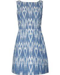 Alice + Olivia Sleeveless Twill Ikat Dress blue - Lyst