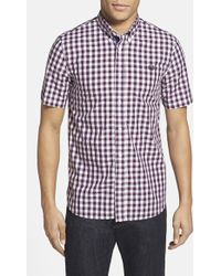 Fred Perry Extra Trim Fit Gingham Short Sleeve Sport Shirt - Lyst