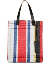 Marni Shopping Woven Straw And Leather Bag - For Women - Lyst