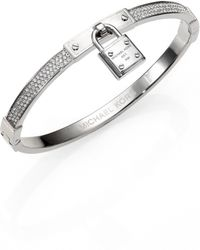 Michael Kors Pave Lock Charm Bangle Bracelet/Silvertone - Lyst