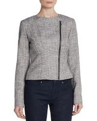 Tahari - Seamed Tweed Jacket - Lyst