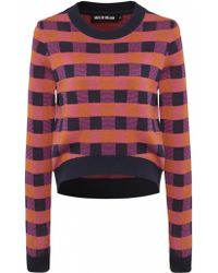 House Of Holland Check Knit Jumper - Lyst