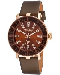 Thierry Mugler Women'S Black Genuine Leather Brown Dial - Lyst