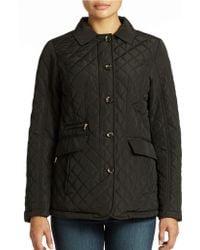 Jones New York Black Quilted Jacket - Lyst