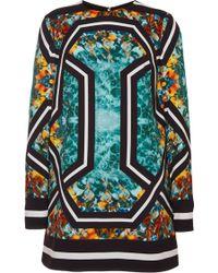 Elie Saab Printed Stretch Cady Long Sleeve Mini Dress - Lyst