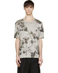 Dolce & Gabbana Grey Rose Print T_Shirt - Lyst
