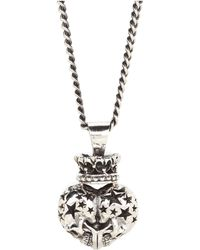 King Baby Studio Double Skull Crowned Pendant - Lyst
