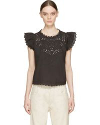 Etoile Isabel Marant Black Broderie Anglaise Silo Blouse - Lyst