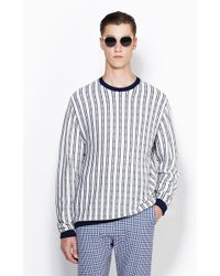 3.1 Phillip Lim Long Sleeve Crewneck Pullover With Tonal Plaid Stripes - Lyst