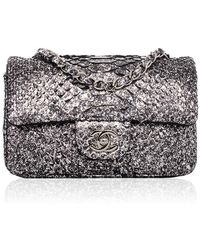 5bd13a4ce390 Madison Avenue Couture - Chanel Silver Python Mini Classic 2.55 Flap Bag -  Lyst