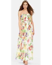 Lauren by Ralph Lauren Floral-Print Chiffon Gown - Lyst