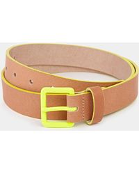 Asos Leather Belt with Bright Buckle - Lyst