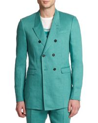 Burberry Prorsum Double-Breasted Linen Sportcoat - Lyst