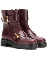 Alexander McQueen Leather Boots purple - Lyst