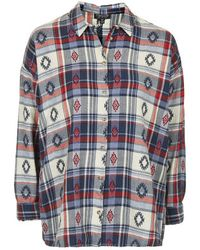 Topshop Check Embroidered Shirt - Lyst