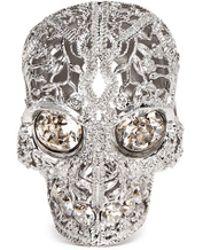 Alexander McQueen Crystal Filigree Skull Ring white - Lyst