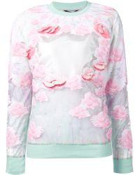 Manish Arora Rose-Print Sheer-Insert Sweatshirt multicolor - Lyst