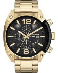Diesel Men'S Chronograph Overflow Gold-Tone Stainless Steel Bracelet Watch 51Mm Dz4342 gold - Lyst