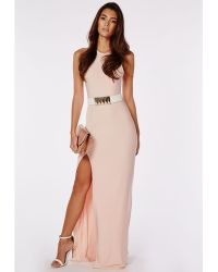 Missguided Slinky Side Split Maxi Dress Nude - Lyst
