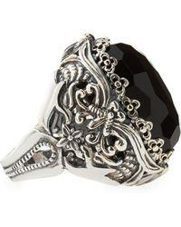 Konstantino Oval Black Onyx Open Filigree Ring - Lyst
