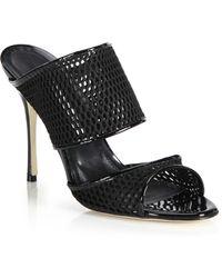 Manolo Blahnik | Ripta Mesh & Patent Leather Sandals | Lyst