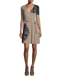 Cirana - Half-sleeve Tie-dye Wrap Dress - Lyst