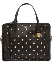 Alexander McQueen Black Leather Gold Studded Skull Padlock Bag - Lyst