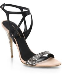 Narciso Rodriguez Carolyn Snake-Embossed-Leather Sandals - Lyst